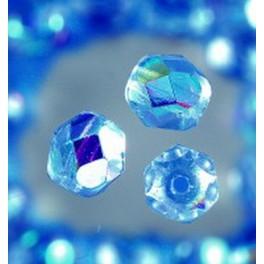 Glasfacettperlen 6mm irisierend mittelblau