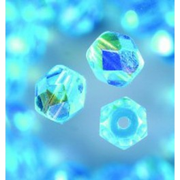 Glasfacettperlen 6mm irisierend aqua
