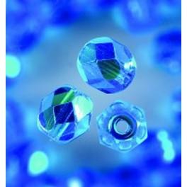 Glasfacettperlen 6mm irisierend dunkelaqua
