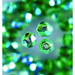 Glasfacettperlen 4mm irisierend grün