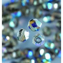 Glasfacettperlen 4mm irisierend grau
