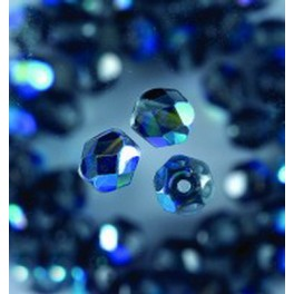 Glasfacettperlen 4mm irisierend schwarz
