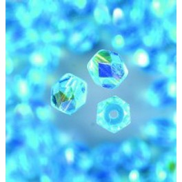 Glasfacettperlen 4mm irisierend aqua