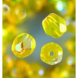 Glasfacettperlen 6mm irisierend gelb
