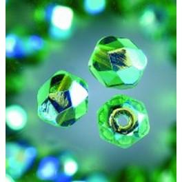 Glasfacettperlen 6mm irisierend grün