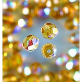 Glasfacettperlen 4mm irisierend honig