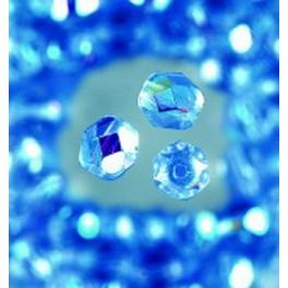 Glasfacettperlen 4mm irisierend mittelblau