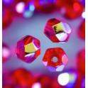 Glasfacettperlen 6mm irisierend rot