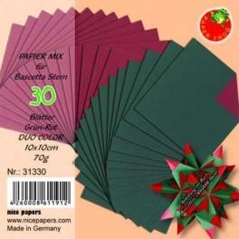 Bascetta Sterne Papier DUO 10 x 10 cm rot/grün