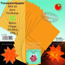 Bascetta Sterne Papier Transparent Papier 20x20cm orange