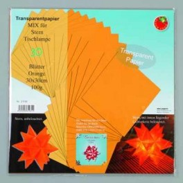 Bascetta Sterne Papier Transparent Papier 30x30cm orange
