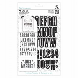 Xcut A5 Die - Wedding Alphabet & Numbers