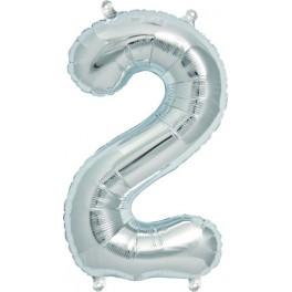 "Folienballon silber ""2"""