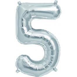 "Folienballon silber ""5"""