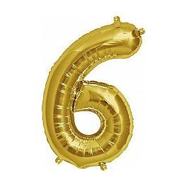 "Folienballon gold ""6"""