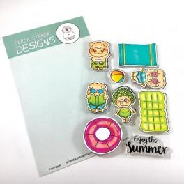 "Clear Stamp Set ""Pool Piggies"""