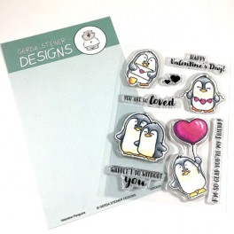 """Clear Stamp Set """" Valentine Penguins"""""""