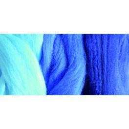 Merino Filzwolle, Kammzug blau Mix