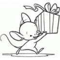 """Motivstempel """"Mäuschen mit Geschenk"""""""