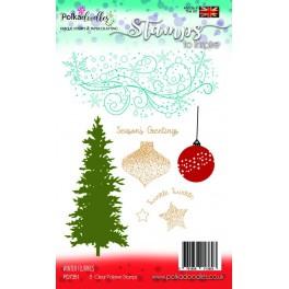 Polkadoodles Winter Flurries Clear Stamp