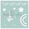 Polkadoodles 6x6 Inch Stencil Unicorns & Rainbows