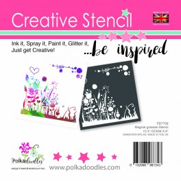 Polkadoodles 6x6 Inch Stencil Magical Grasses