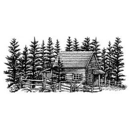 "Motivstempel ""Cabin With Fence"""