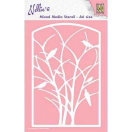 Nellies Choice Mixed Media Stencils A6 RahmenVögel im Baum