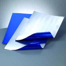 Alufolienzuschnitt Prägefolie blau/silber