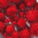 Pompons rot metallic