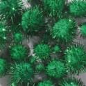 Pompons grün metallic