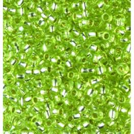 Rocailles 3,5mm mit Silbereinzug hellgrün